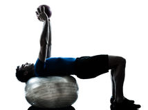 Man exercising workout fitness ball posture Royalty Free Stock Photography