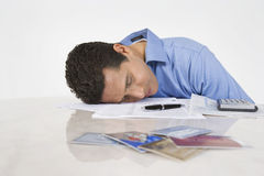 Man Exhausted From Paying Bills Stock Photography