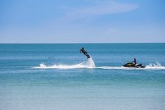 Man exibition on flyboard Stock Photography