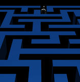 Man exiting maze 3d illustration. Man exiting complex maze labyrinth. 3d illustration Stock Images