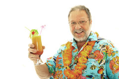 Man with exotic cocktail Royalty Free Stock Photo