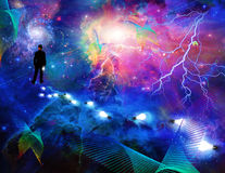 Man in the expanse of space. Man considering the expanse of space Royalty Free Stock Image