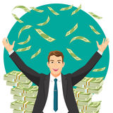 Man in expensive suit gets bonus money vector illustration Stock Photo