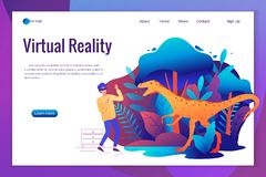 Man experiencing virtual reality game wearing vr goggles. Vector illustration stock illustration