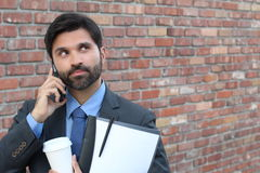 Man experimenting nervousness during phone call Stock Photo