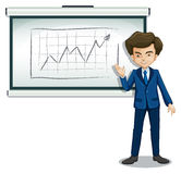 A man explaining the graph in the board Stock Image