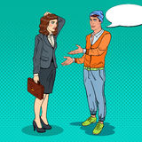 Man Explaining his New Idea to Businesswoman. Pop Art illustration Stock Photos