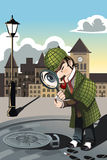 Man exploring. A vector illustration of a man exploring a manhole with a magnifying glass Stock Image