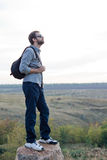 Man exploring with a backpack Royalty Free Stock Photo
