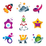 Man exploring the deep space - rocket launch and flying to the stars designer concept icon royalty free illustration
