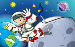 A man exploring the outerspace. Illustration of a man exploring the outerspace Royalty Free Stock Photo