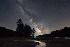 Man Exploring a small stream under the stars. A small stream was all that was present due to a drought in the area in Quabbin Reservoir, Massachusetts Royalty Free Stock Photography