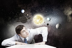 Man exploring space Royalty Free Stock Photo