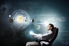 Man exploring space Stock Photo