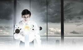 Man exploring space Stock Images