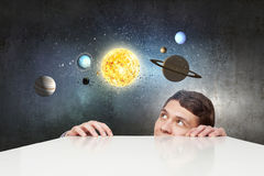 Man exploring space Stock Image