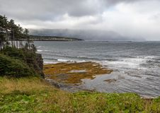 Stormy sky over Rocky Harbour Newfoundland royalty free stock images