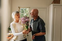 Man expressing his love for his wife giving her a bunch of flowers at home. Senior woman happy to see her husband give her a royalty free stock image