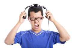 Man expressing loud sound. Young man expressing loud sound royalty free stock photos