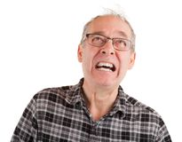 Man is in Pain. Man is expressing pain while looking up Stock Photo
