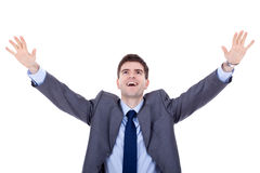 Man expressing success. Happy business man expressing success and victory concept Royalty Free Stock Images