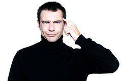 Man expressing sullen stupidity Royalty Free Stock Photo