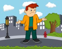 Man with an expression of amazement cartoon. Full color Stock Photos