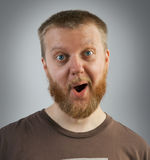 Man with an expression of surprise on his face Royalty Free Stock Image