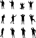 Man expressions silhouettes. Various gestures, black on white background vector illustration