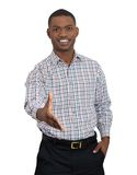 Man extending arm for a handshake Stock Images