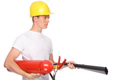 Man with extinguisher Royalty Free Stock Images