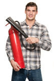 Man with extinguisher Royalty Free Stock Photo