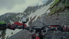 Enduro journey with dirt bike high in the Caucasian mountains with Buggy. Man extreme sport trip with dirtbike and buggy in the mountains and fields stock video