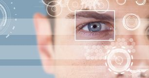 Man with eye focus box detail and lines interface. Digital composite of man with eye focus box detail and lines interface stock image