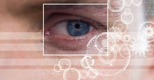 Man with eye focus box detail and lines interface. Digital composite of man with eye focus box detail and lines interface royalty free stock photo