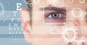 Man with eye focus box detail and lines and Eye test interface. Digital composite of man with eye focus box detail and lines and Eye test interface stock photos