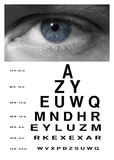 Man eye with test vision chart close up Royalty Free Stock Photography