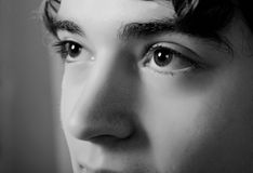 Man eyes. Soothing man eyes on black and white Stock Photo
