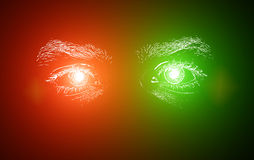 Man Eyes. Abstract neon colored eyes of the man vector illustration
