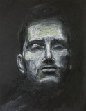 Man with eyes closed, pastel drawing stock illustration