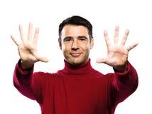 man för 10 caucasian fingrar som visar tio Arkivfoton