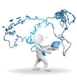 man för affär 3D runt om världen Arkivbild