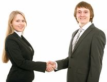 man för affärsaffärskvinnahandskakning royaltyfri bild
