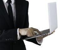 man för affärsholdingbärbar dator royaltyfria foton