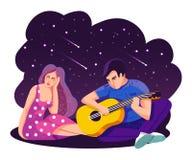 man för begreppskyssförälskelse till kvinnan Flickan och grabben lyssnar till förälskelsesången i öppen luft Kosmisk natthimmel m royaltyfri illustrationer