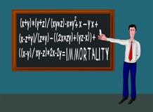 man för blackboardformelimmortality stock illustrationer
