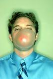 man för bubblaaffärsgummi royaltyfria foton