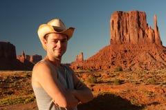 man för cowboyhatt Fotografering för Bildbyråer