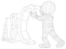 Man för docka 3d med abc Royaltyfria Bilder