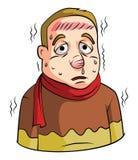 Man för hög feber royaltyfri illustrationer